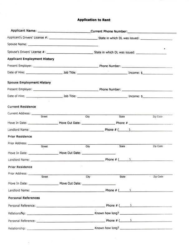 Renters Application Form  BesikEightyCo